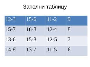 Заполни таблицу , 12-3 15-6 11-2 9 15-7 16-8 12-4 8 13-6 15-8 12-5 7 14-8 13-