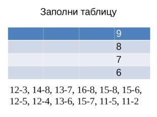 Заполни таблицу 12-3, 14-8, 13-7, 16-8, 15-8, 15-6, 12-5, 12-4, 13-6, 15-7, 1