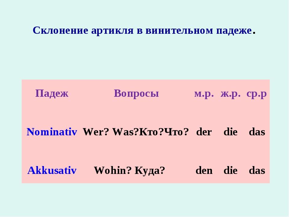 Склонение артикля в винительном падеже. ПадежВопросым.р.ж.р.ср.р Nominati...
