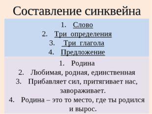Составление синквейна Слово Три определения Три глагола Предложение Родина Лю
