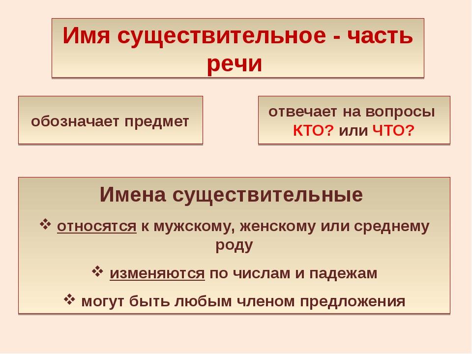 Имя существительное - часть речи обозначает предмет отвечает на вопросы КТО?...