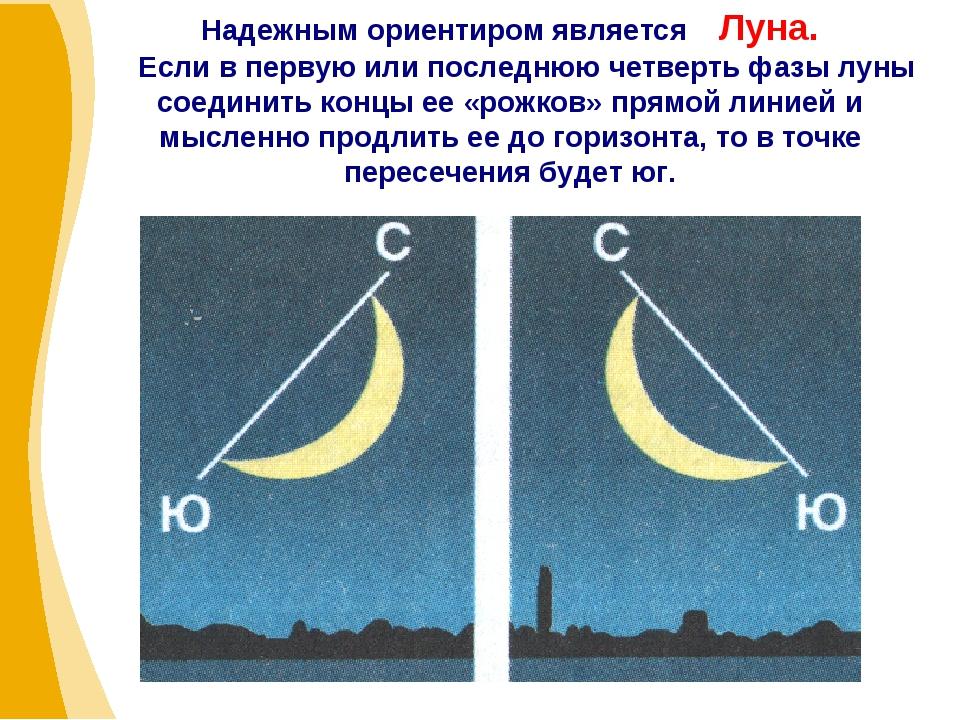 Надежным ориентиром является Луна. Если в первую или последнюю четверть фазы...