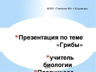 учитель биологии Плотникова Елена Петровна Презентация по теме «Грибы» МОБУ «