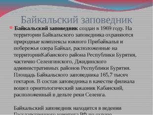 Байкальский заповедник Байкальский заповедниксоздан в 1969 году. На территор