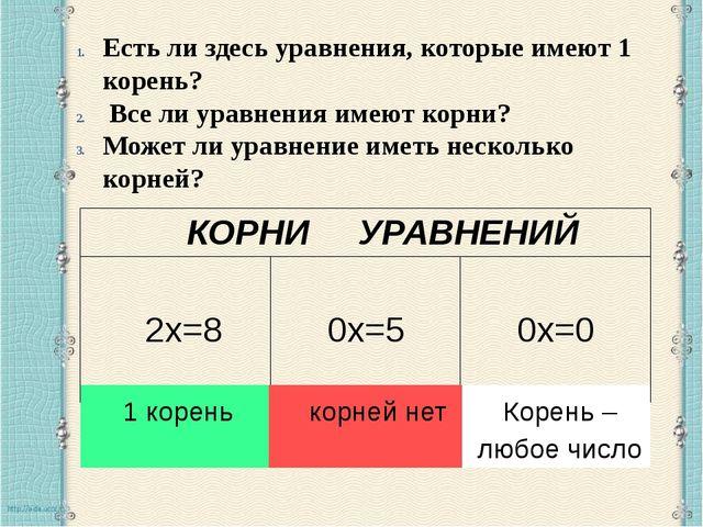Есть ли здесь уравнения, которые имеют 1 корень? Все ли уравнения имеют корн...
