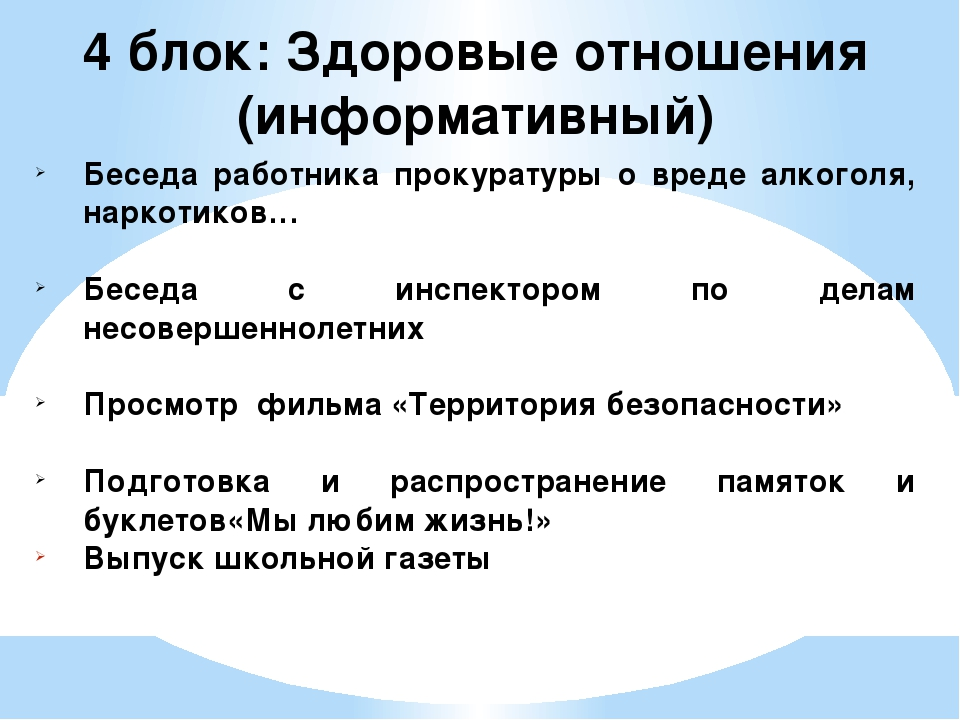4 блок: Здоровые отношения (информативный) Беседа работника прокуратуры о вре...