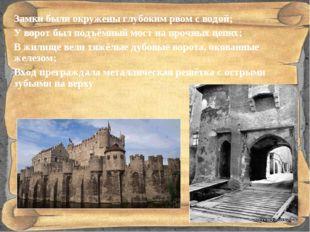Замки были окружены глубоким рвом с водой; У ворот был подъёмный мост на проч