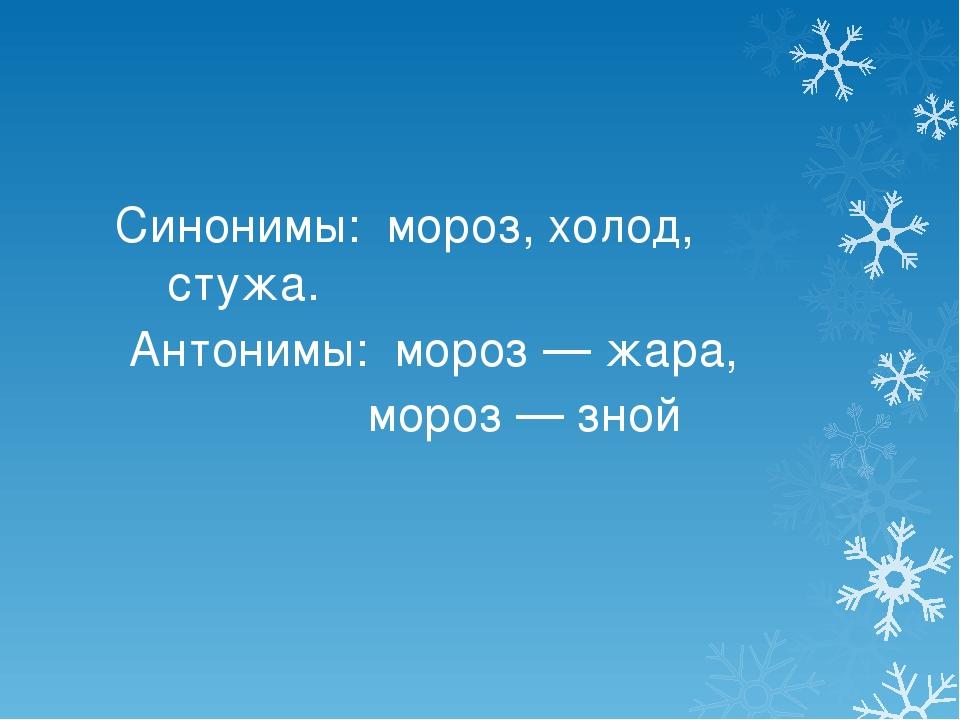 Синонимы: мороз, холод, стужа. Антонимы: мороз — жара, мороз — зной
