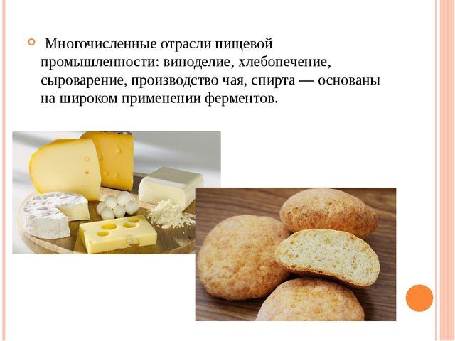 Многочисленные отрасли пищевой промышленности: виноделие, хлебопечение, сыро...