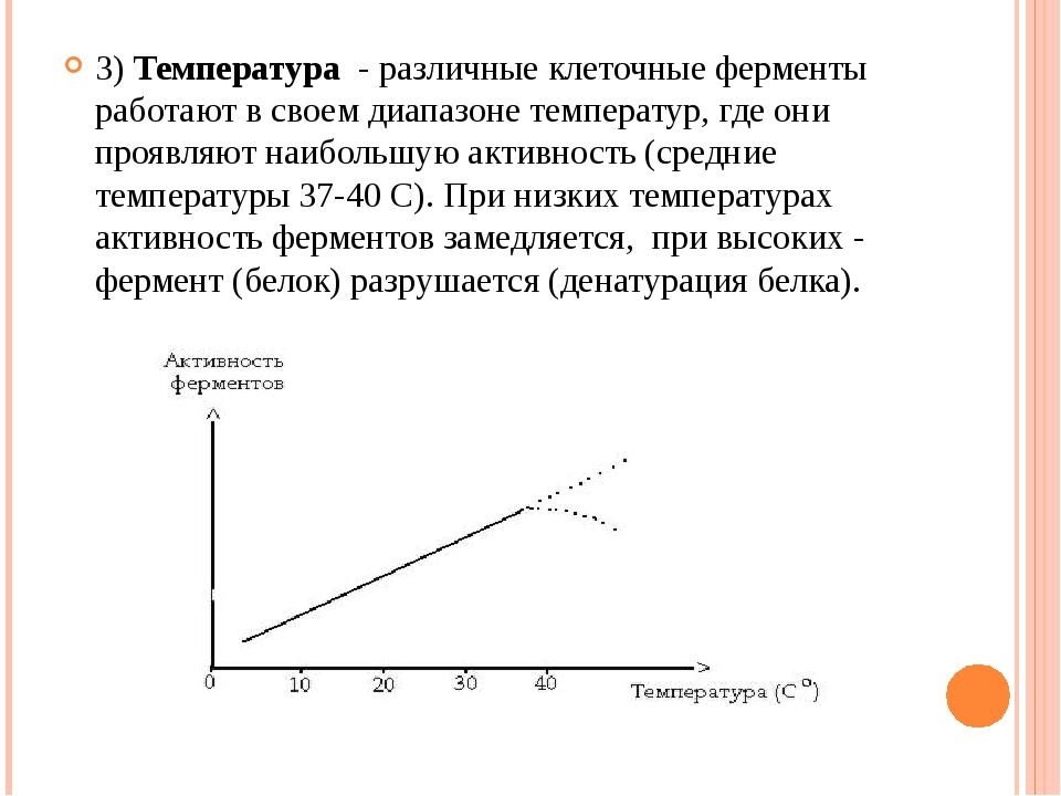 3) Температура - различные клеточные ферменты работают в своем диапазоне темп...