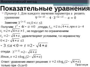 Заменим Показательные уравнения Пример 1. Для каждого значения параметра а ре
