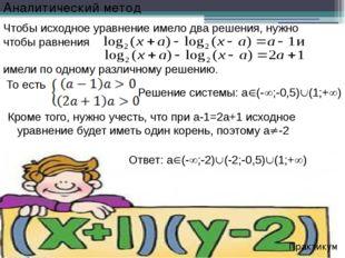 Решение системы: а(-;-0,5)(1;+) Практикум Чтобы исходное уравнение имело
