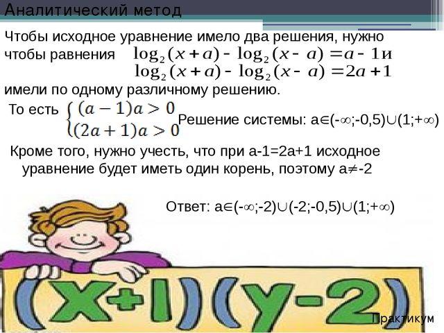 Решение системы: а(-;-0,5)(1;+) Практикум Чтобы исходное уравнение имело...