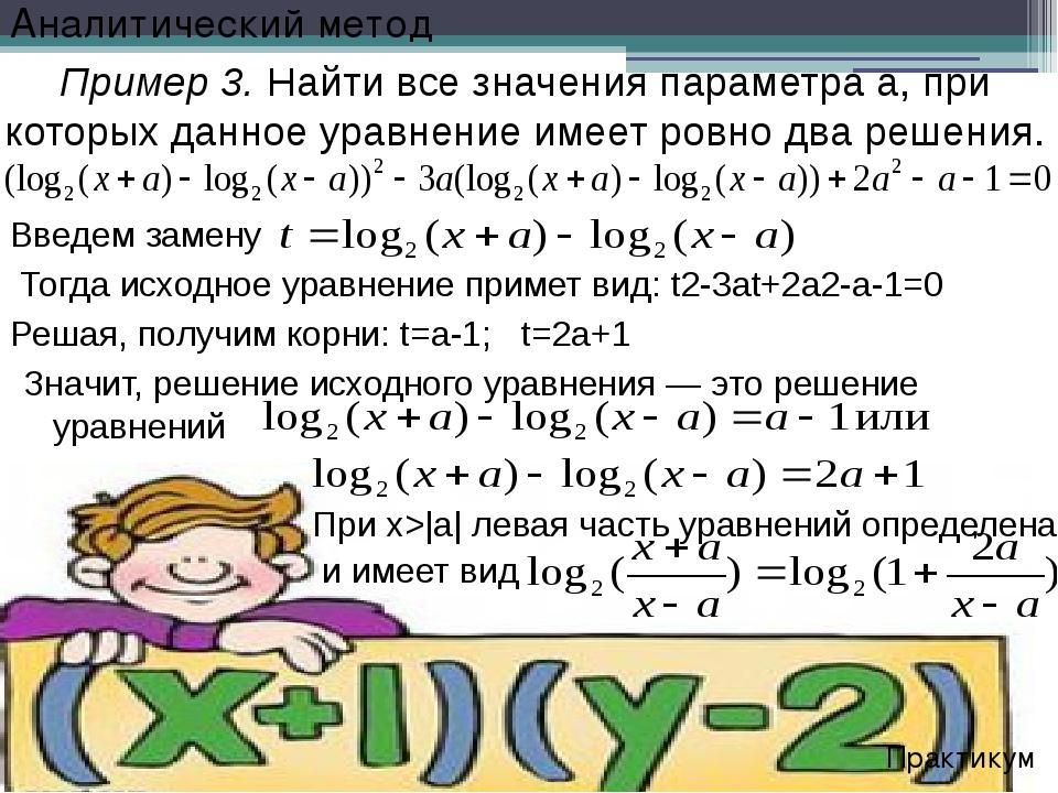 Решая, получим корни: t=a-1; t=2a+1 Пример 3. Найти все значения параметра а,...