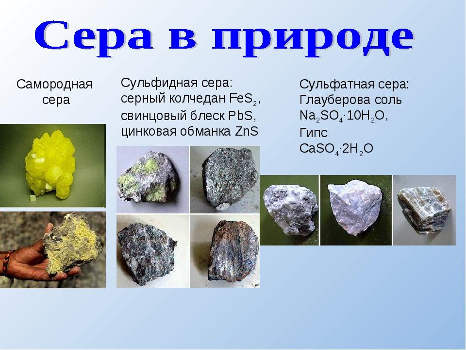 Сульфидная сера: серный колчедан FeS2, свинцовый блеск PbS, цинковая обманка...