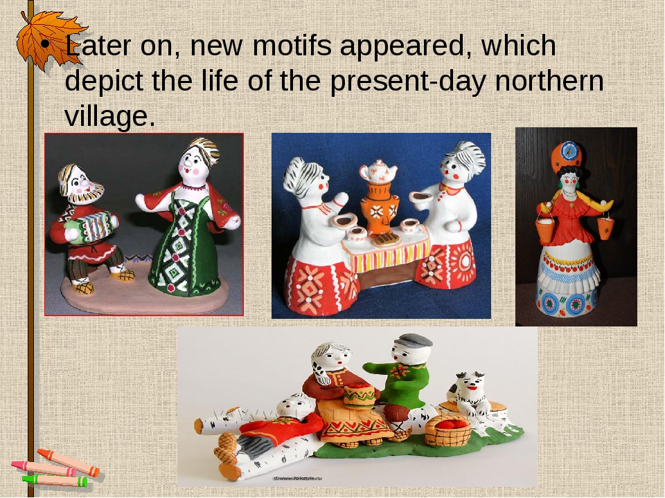 Later on, new motifs appeared, which depict the life of the present-day north...