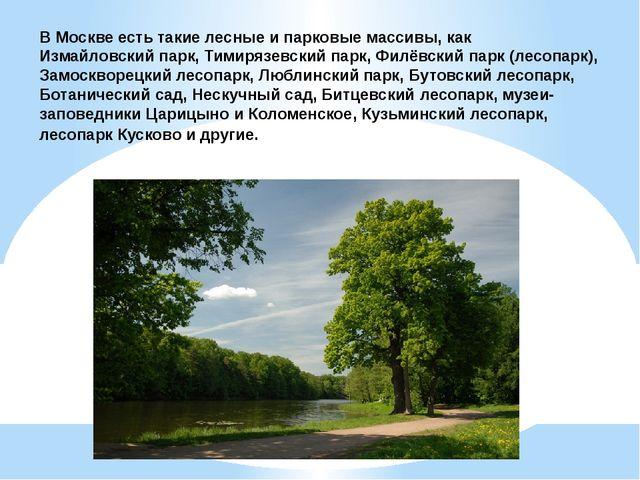 В Москве есть такие лесные и парковые массивы, какИзмайловский парк,Тимиряз...