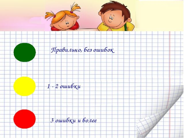 Правильно, без ошибок 1 - 2 ошибки 3 ошибки и более