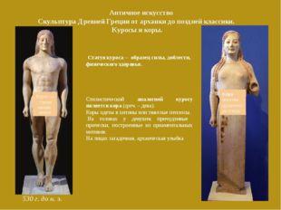Античное искусство Скульптура Древней Греции от архаики до поздней классики.