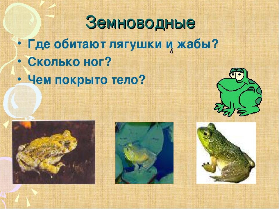 Земноводные Где обитают лягушки и жабы? Сколько ног? Чем покрыто тело?