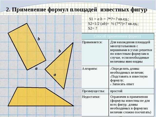 2. Применение формул площадей известных фигур S1 = a b = ?*?=? кв.ед.; S2=1/2...