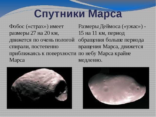 Спутники Марса Фобос («страх») имеет размеры 27 на 20 км, движется по очень п...