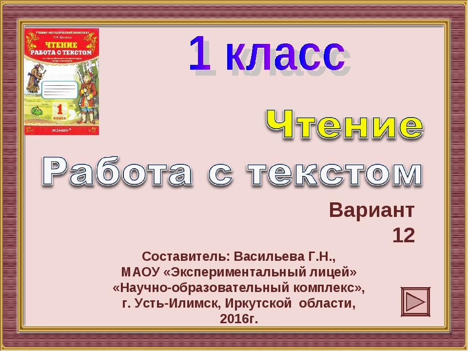 Вариант 12 Составитель: Васильева Г.Н., МАОУ «Экспериментальный лицей» «Научн...