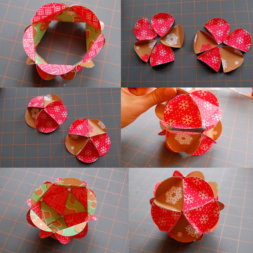 Как сделать новогодний шар своими руками из бумаги без клея