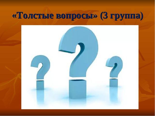 «Толстые вопросы» (3 группа)