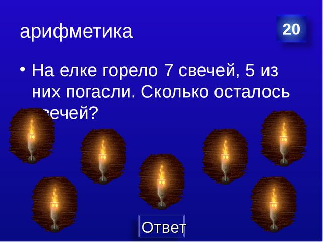 арифметика На елке горело 7 свечей, 5 из них погасли. Сколько осталось свечей?