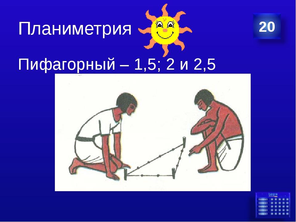 Планиметрия Пифагорный – 1,5; 2 и 2,5