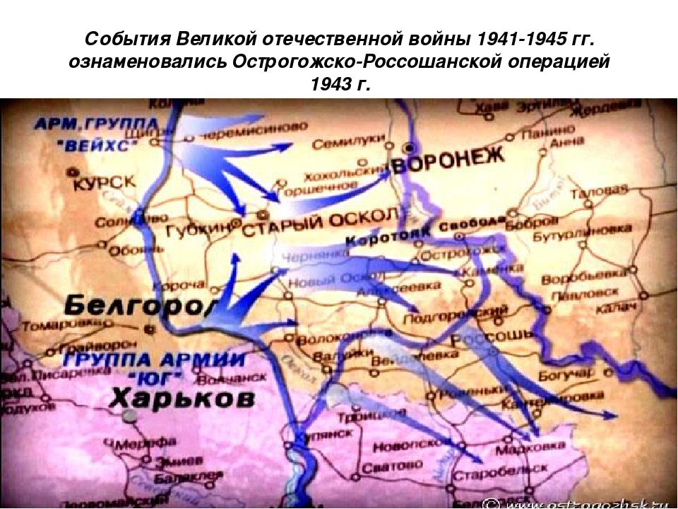 События Великой отечественной войны 1941-1945 гг. ознаменовались Острогожско-...