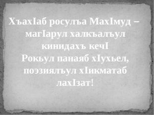 ХъахIаб росулъа МахIмуд – магIарул халкъалъул кинидахъ кечI Рокьул панаяб хI