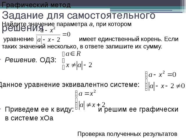 Задание для самостоятельного решения Решение. ОДЗ: Данное уравнение эквивален...