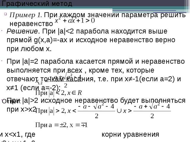Решение. При |a|2 исходное неравенство будет выполняться при x>x2 и x