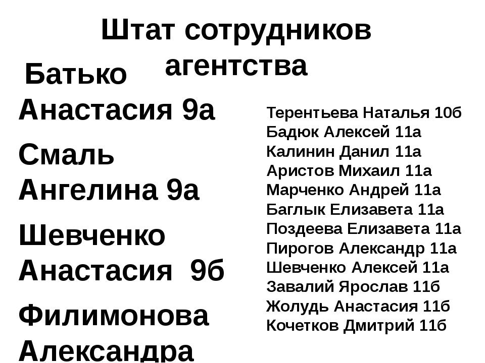 Штат сотрудников агентства Батько Анастасия 9а Смаль Ангелина 9а Шевченко Ан...