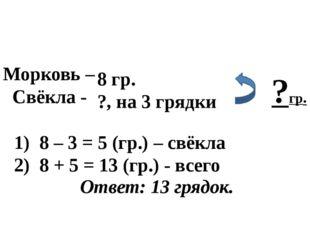 Морковь – Свёкла - 8 гр. ?, на 3 грядки ?гр. 8 – 3 = 5 (гр.) – свёкла 8 + 5 =