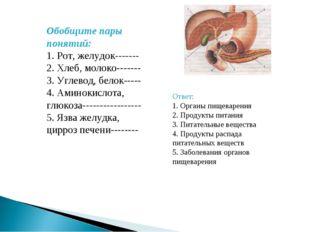 Обобщите пары понятий: 1. Рот, желудок------- 2. Хлеб, молоко------- 3. Углев