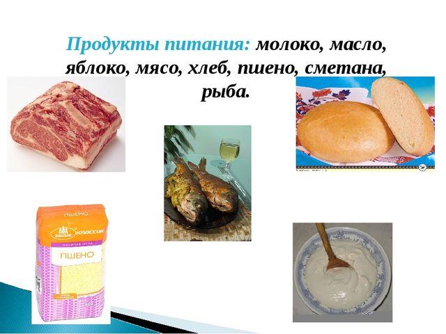 Продукты питания: молоко, масло, яблоко, мясо, хлеб, пшено, сметана, рыба.