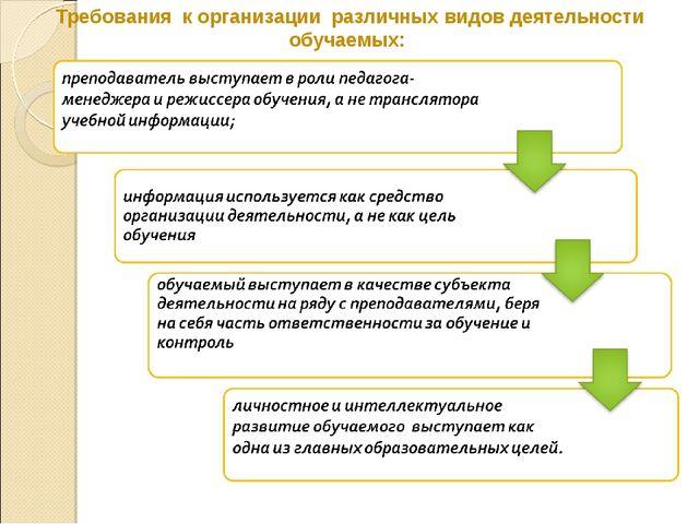 Требования к организации различных видов деятельности обучаемых: