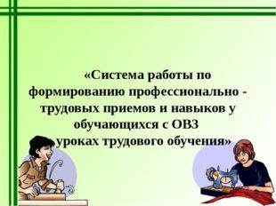 «Система работы по формированию профессионально - трудовых приемов и навыков