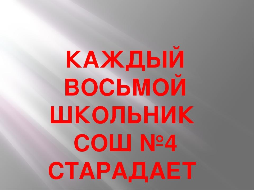 КАЖДЫЙ ВОСЬМОЙ ШКОЛЬНИК СОШ №4 СТАРАДАЕТ БЛИЗОРУКОСТЬЮ