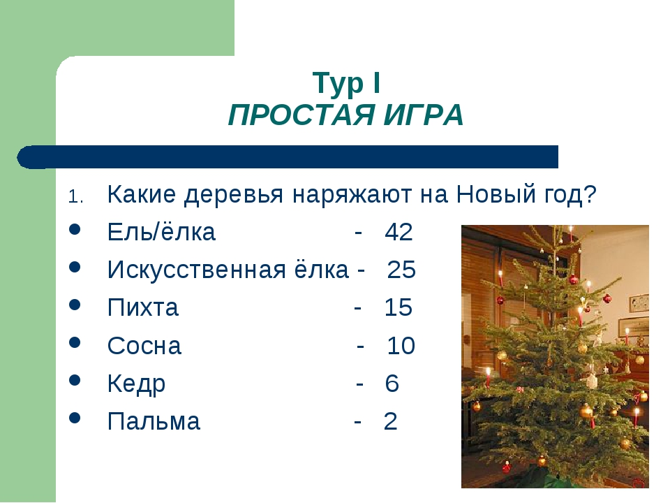 Тур I ПРОСТАЯ ИГРА Какие деревья наряжают на Новый год? Ель/ёлка - 42 Искусст...