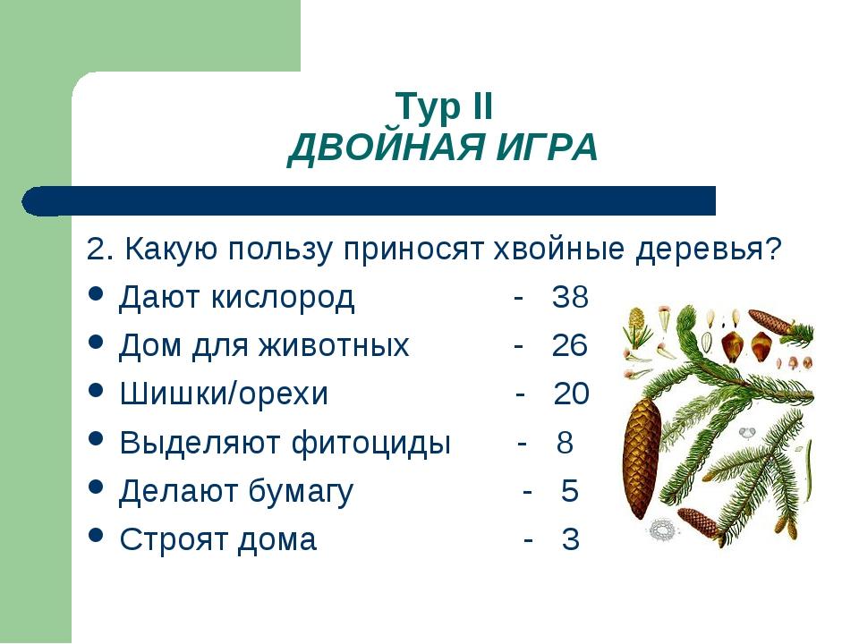 Тур II ДВОЙНАЯ ИГРА 2. Какую пользу приносят хвойные деревья? Дают кислород -...