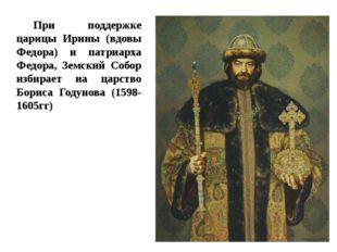 При поддержке царицы Ирины (вдовы Федора) и патриарха Федора, Земский Собор и