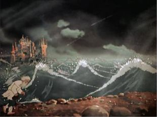Вот идет он к синему морю, Видит, на море черная буря: Так и вздулись сердиты