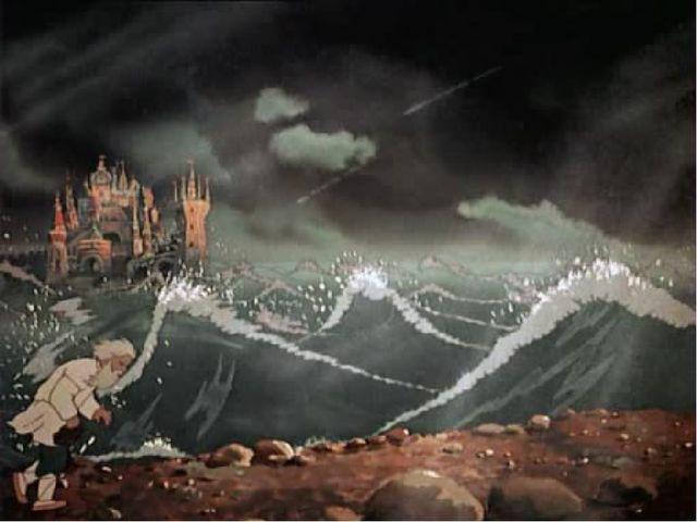 Вот идет он к синему морю, Видит, на море черная буря: Так и вздулись сердиты...
