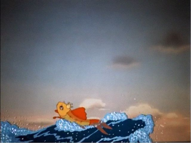 Вот пошел он к синему морю; Видит, — море слегка разыгралось. Стал он кликать...