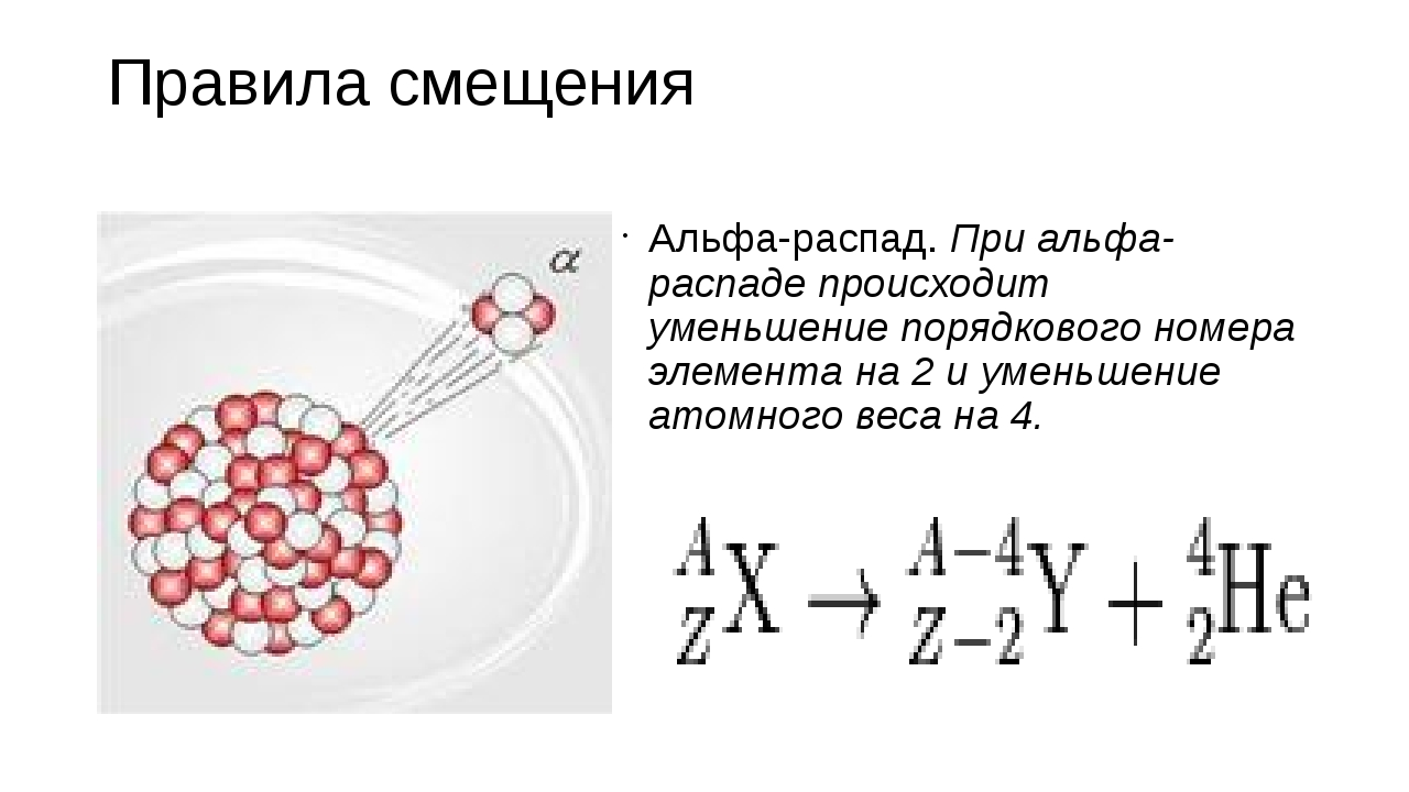 Правила смещения Альфа-распад. При альфа-распаде происходит уменьшение порядк...