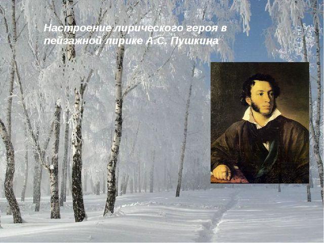 Настроение лирического героя в пейзажной лирике А.С. Пушкина